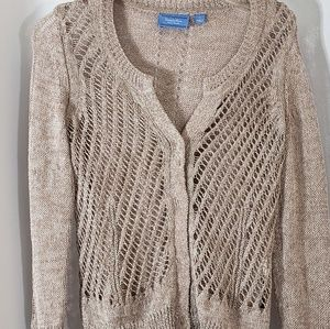 Simply Vera Wang Cardigan Beige Perforated Sweater